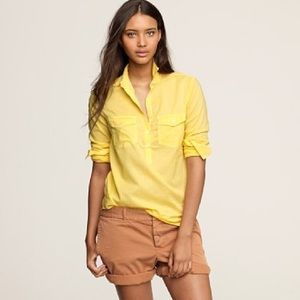 J. Crew Bright Yellow Ink-Dip Popover Shirt sz 0